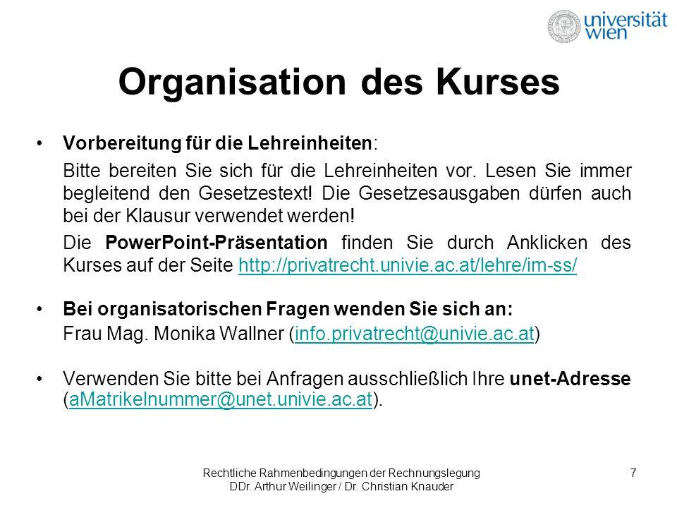 Rechtliche Rahmenbedingungen der Rechnungslegung DDr. Arthur Weilinger / Dr. Christian Knauder 7 Vorbereitung für die Lehreinheiten: Bitte bereiten Si