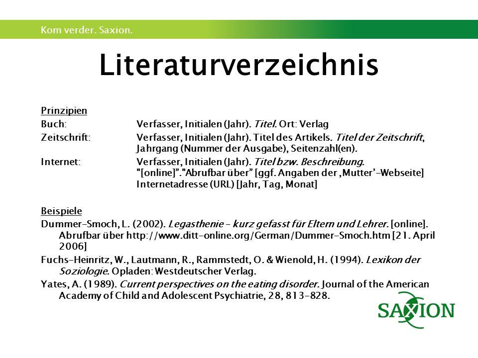 Kom verder. Saxion. Literaturverzeichnis Prinzipien Buch: Verfasser, Initialen (Jahr). Titel. Ort: Verlag Zeitschrift: Verfasser, Initialen (Jahr). Ti