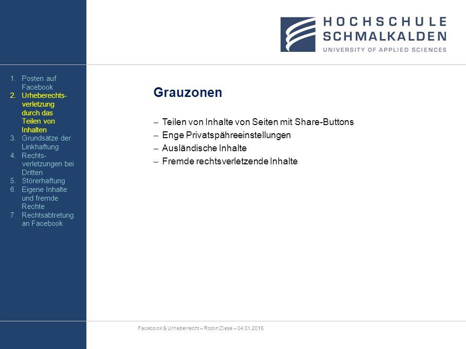 Grauzonen  Teilen von Inhalte von Seiten mit Share-Buttons  Enge Privatspähreeinstellungen  Ausländische Inhalte  Fremde rechtsverletzende Inhalte