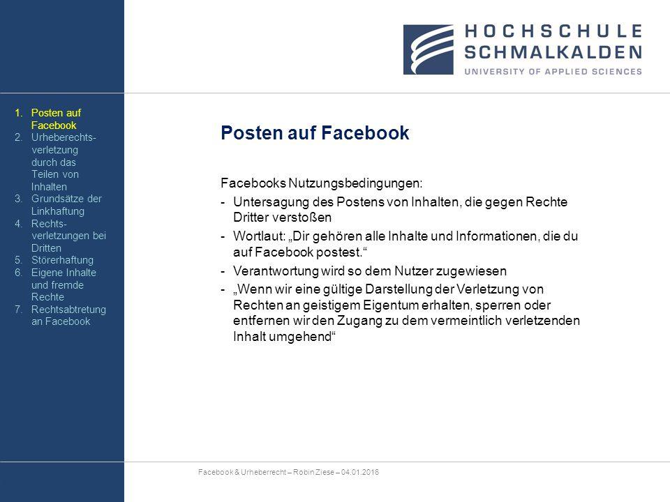 """Posten auf Facebook Facebooks Nutzungsbedingungen: -Untersagung des Postens von Inhalten, die gegen Rechte Dritter verstoßen -Wortlaut: """"Dir gehören a"""