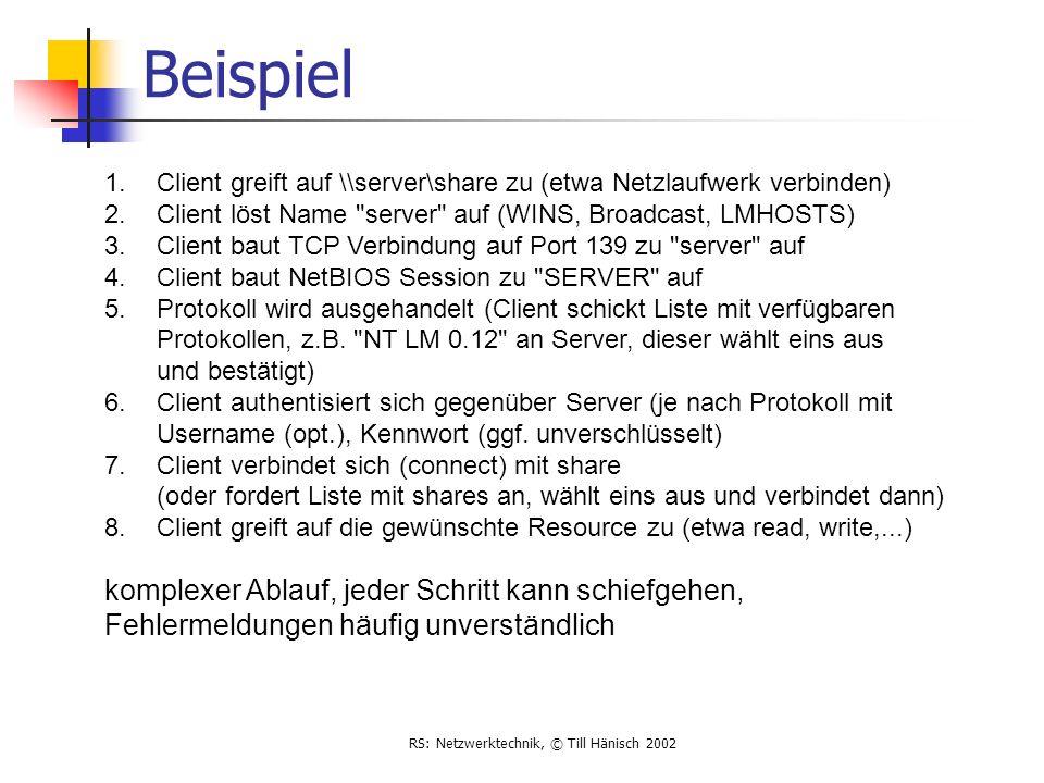 RS: Netzwerktechnik, © Till Hänisch 2002 Beispiel 1.Client greift auf \\server\share zu (etwa Netzlaufwerk verbinden) 2.Client löst Name