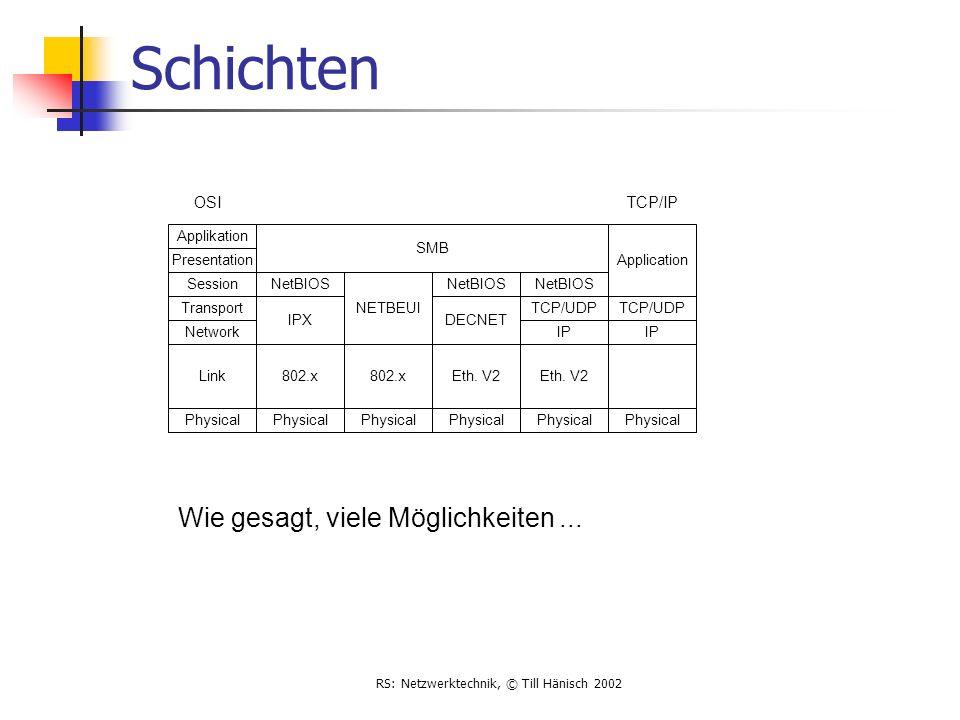 RS: Netzwerktechnik, © Till Hänisch 2002 Schichten Link Physical 802.x Physical 802.x Physical Eth. V2 Physical Eth. V2 Physical Network Transport Ses