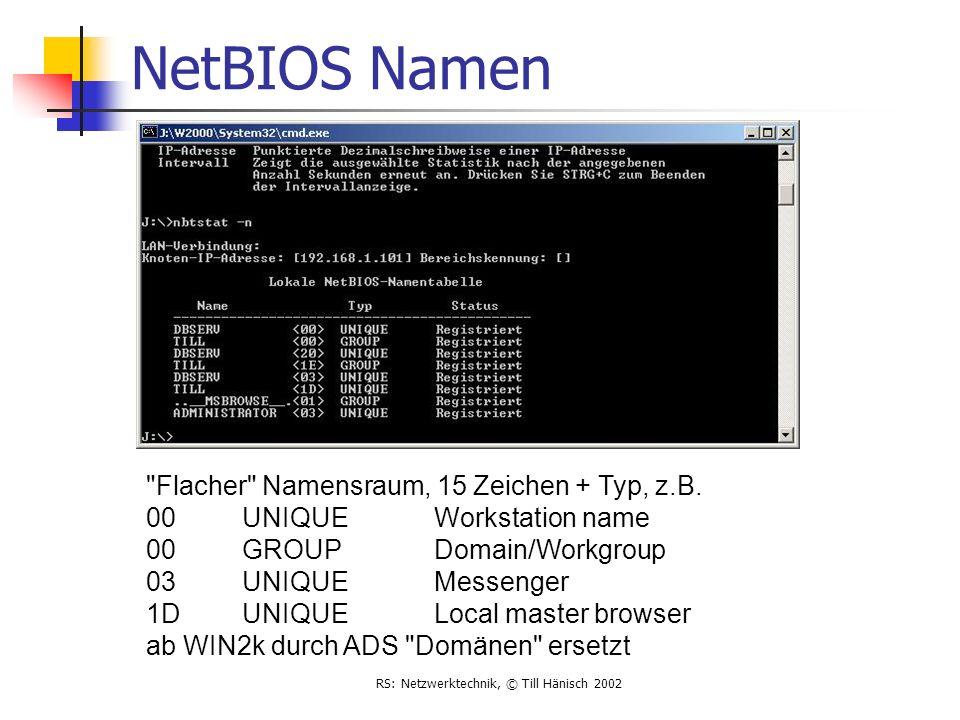 RS: Netzwerktechnik, © Till Hänisch 2002 NetBIOS Namen
