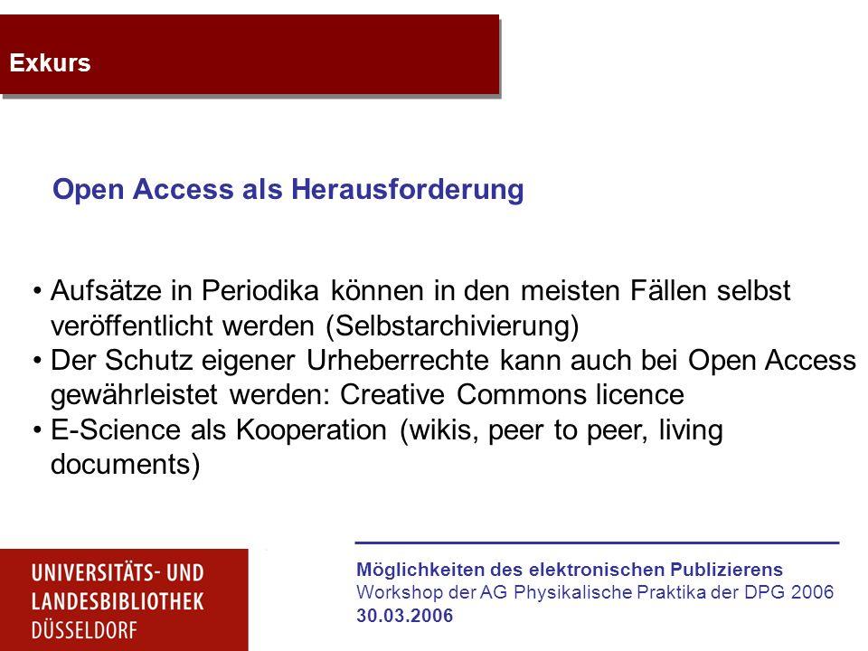 """Möglichkeiten des elektronischen Publizierens Workshop der AG Physikalische Praktika der DPG 2006 30.03.2006 Weiterführende Infos Dokumentenserver der ULB Düsseldorf: http://www.ub.uni-duesseldorf.de/home/etexte/diss Projekt """"Physik für Mediziner : http://www.mm-projekt.uni-duesseldorf.de/ Projekt German Academic Publishers: http://www.gap-portal.de/"""