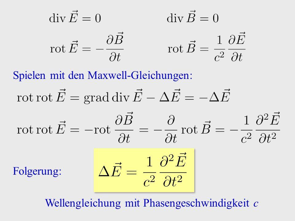 Spielen mit den Maxwell-Gleichungen: Folgerung: Wellengleichung mit Phasengeschwindigkeit c