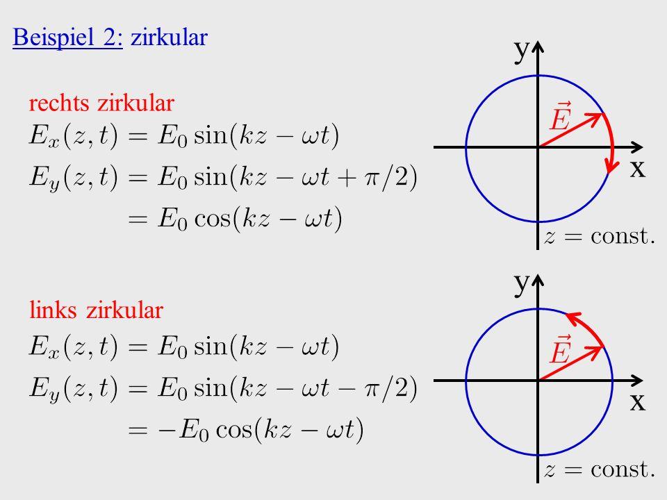Beispiel 2: zirkular x y rechts zirkular x y links zirkular