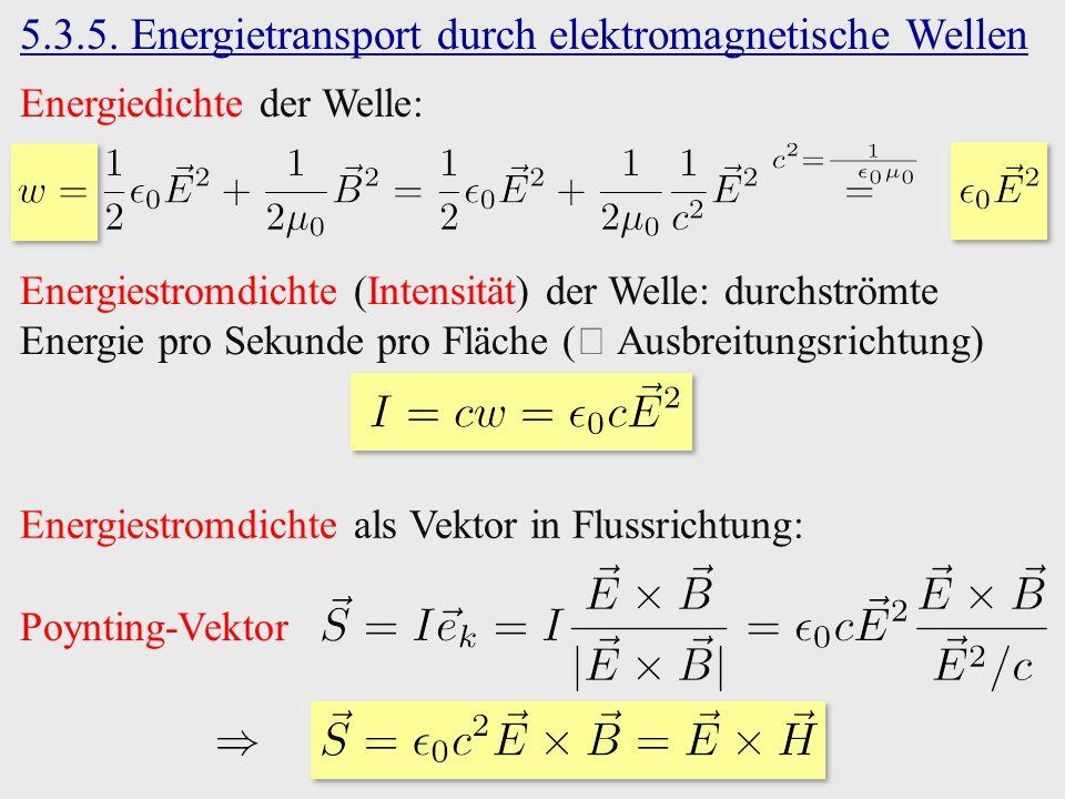 Energiestromdichte (Intensität) der Welle: durchströmte Energie pro Sekunde pro Fläche ( Ausbreitungsrichtung) 5.3.5.