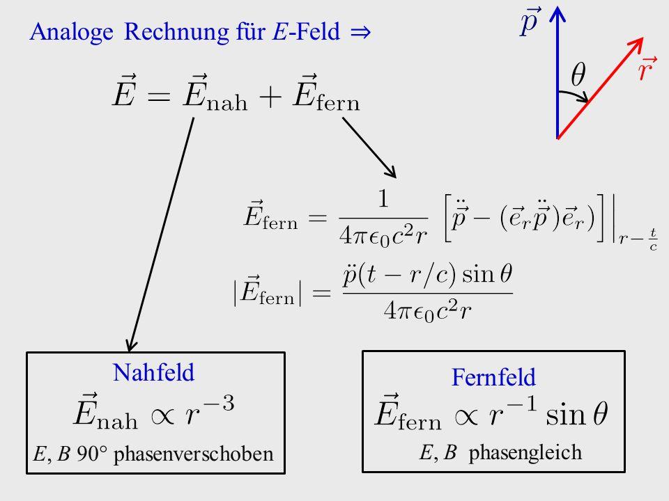 Analoge Rechnung für E-Feld ⇒ Nahfeld E, B 90° phasenverschoben Fernfeld E, B phasengleich