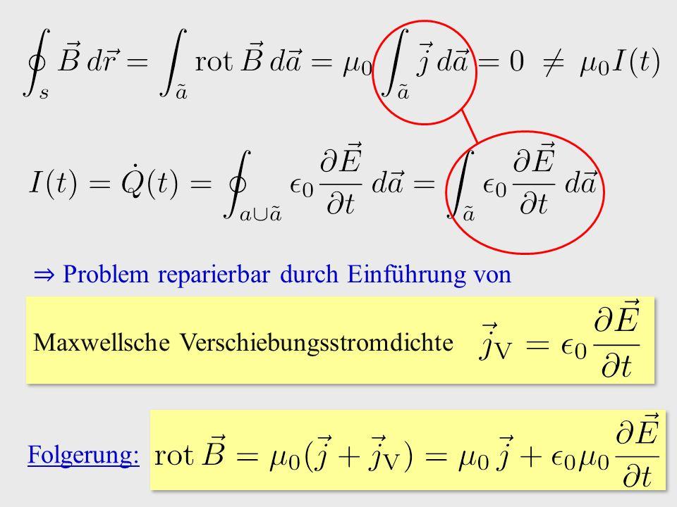 Folgerung: ⇒ Problem reparierbar durch Einführung von Maxwellsche Verschiebungsstromdichte