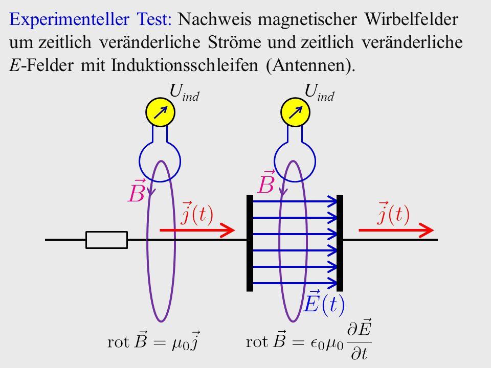Experimenteller Test: Nachweis magnetischer Wirbelfelder um zeitlich veränderliche Ströme und zeitlich veränderliche E-Felder mit Induktionsschleifen (Antennen).