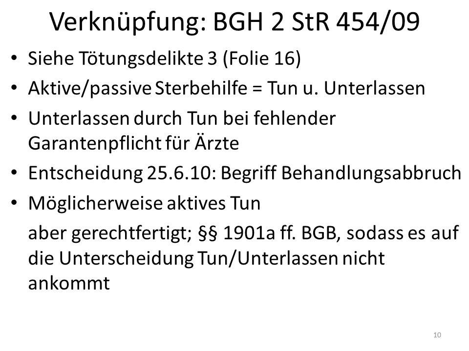 Verknüpfung: BGH 2 StR 454/09 Siehe Tötungsdelikte 3 (Folie 16) Aktive/passive Sterbehilfe = Tun u. Unterlassen Unterlassen durch Tun bei fehlender Ga