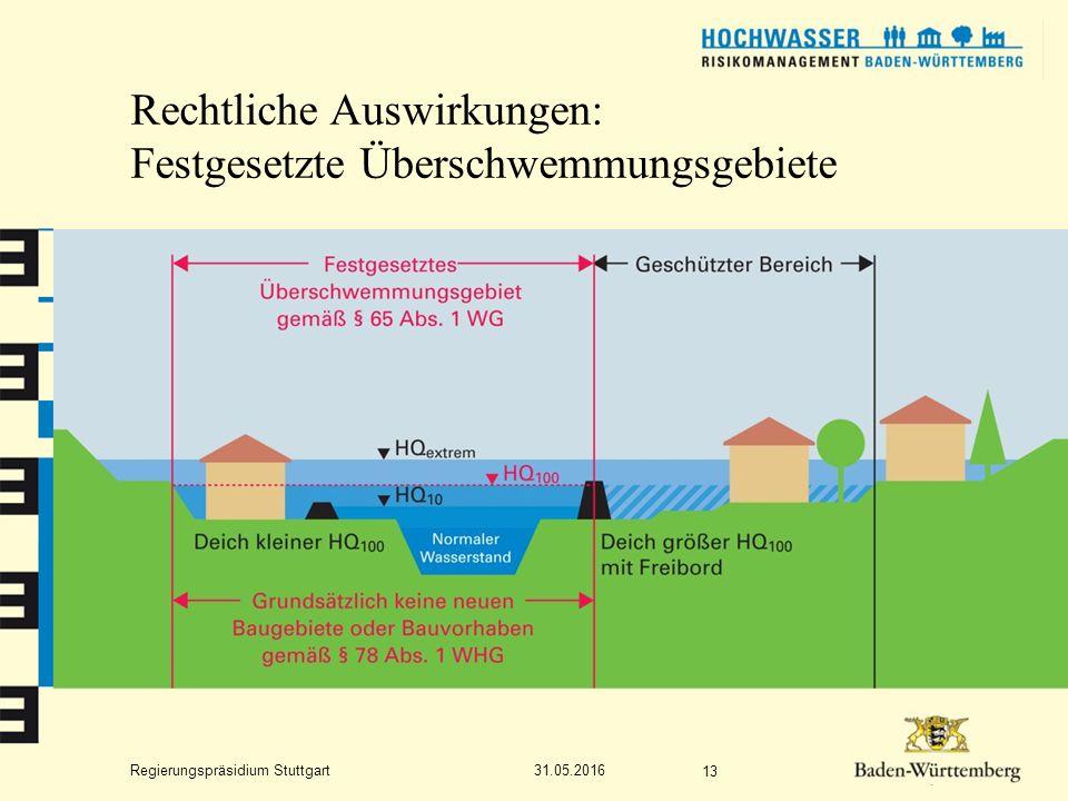 Regierungspräsidium Stuttgart Rechtliche Auswirkungen: Festgesetzte Überschwemmungsgebiete 31.05.2016 13