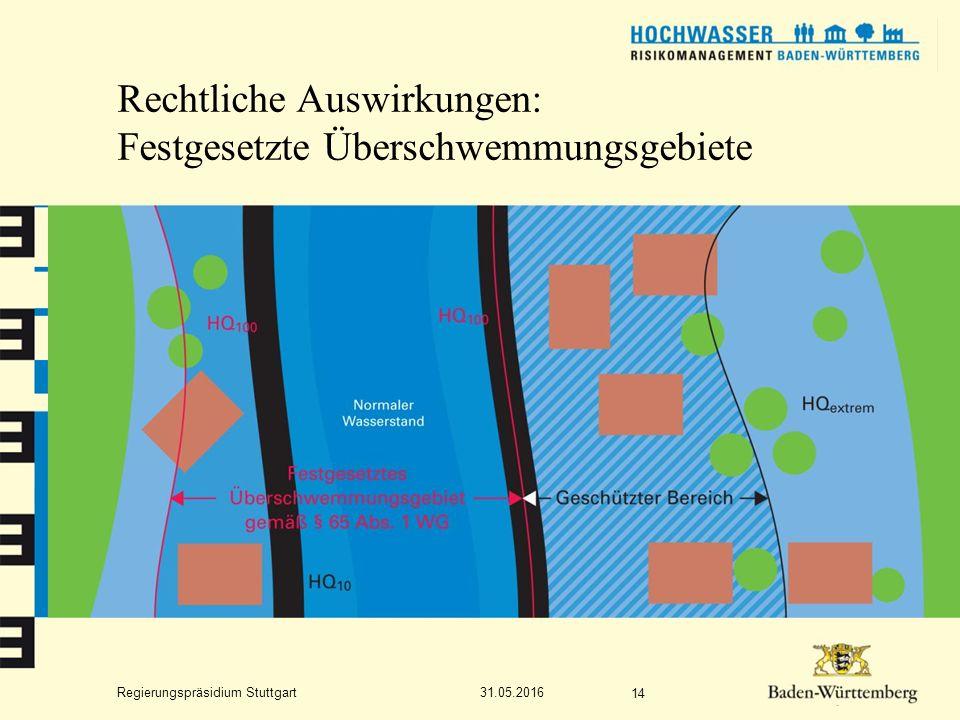 Regierungspräsidium Stuttgart Rechtliche Auswirkungen: Festgesetzte Überschwemmungsgebiete 31.05.2016 14