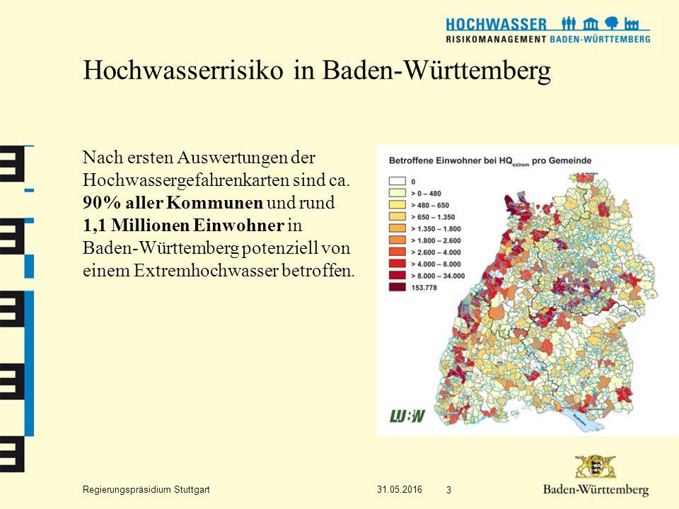 Regierungspräsidium Stuttgart Hochwasserrisiko in Baden-Württemberg Nach ersten Auswertungen der Hochwassergefahrenkarten sind ca.