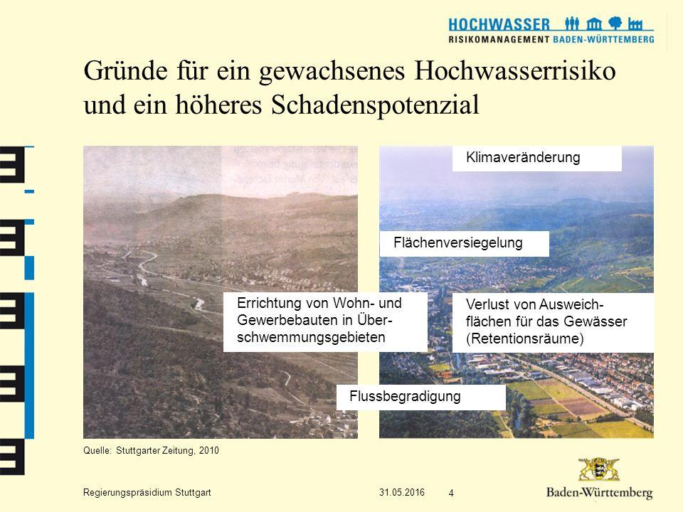 """Regierungspräsidium Stuttgart 31.05.2016 5 Fazit Das häufig gehörte Argument """"Auch ältere Einwohner können sich nicht an ein Hochwasser im vorher- gesagten Umfang erinnern ist nicht immer stichhaltig!"""