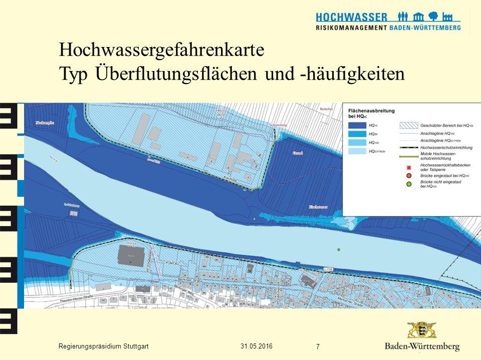 Regierungspräsidium Stuttgart Hochwassergefahrenkarte Typ Überflutungstiefen 31.05.2016 8