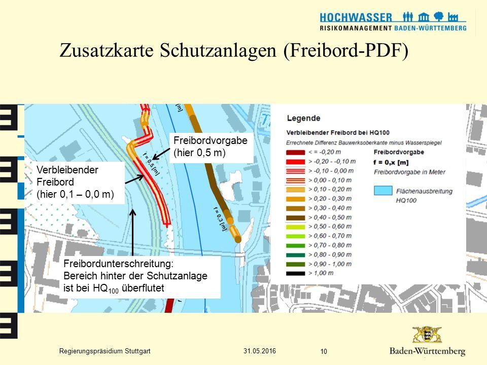 Regierungspräsidium Stuttgart Zusatzkarte Schutzanlagen (Freibord-PDF) 31.05.2016 10 Freibordvorgabe (hier 0,5 m) Verbleibender Freibord (hier 0,1 – 0,0 m) Freibordunterschreitung: Bereich hinter der Schutzanlage ist bei HQ 100 überflutet