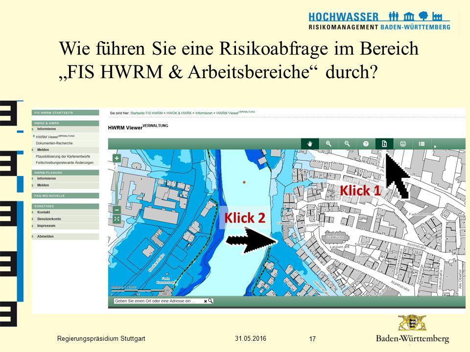 """Regierungspräsidium Stuttgart Wie führen Sie eine Risikoabfrage im Bereich """"FIS HWRM & Arbeitsbereiche durch."""
