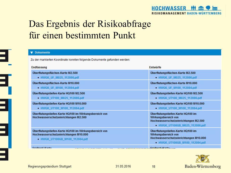 Regierungspräsidium Stuttgart Das Ergebnis der Risikoabfrage für einen bestimmten Punkt 31.05.2016 18