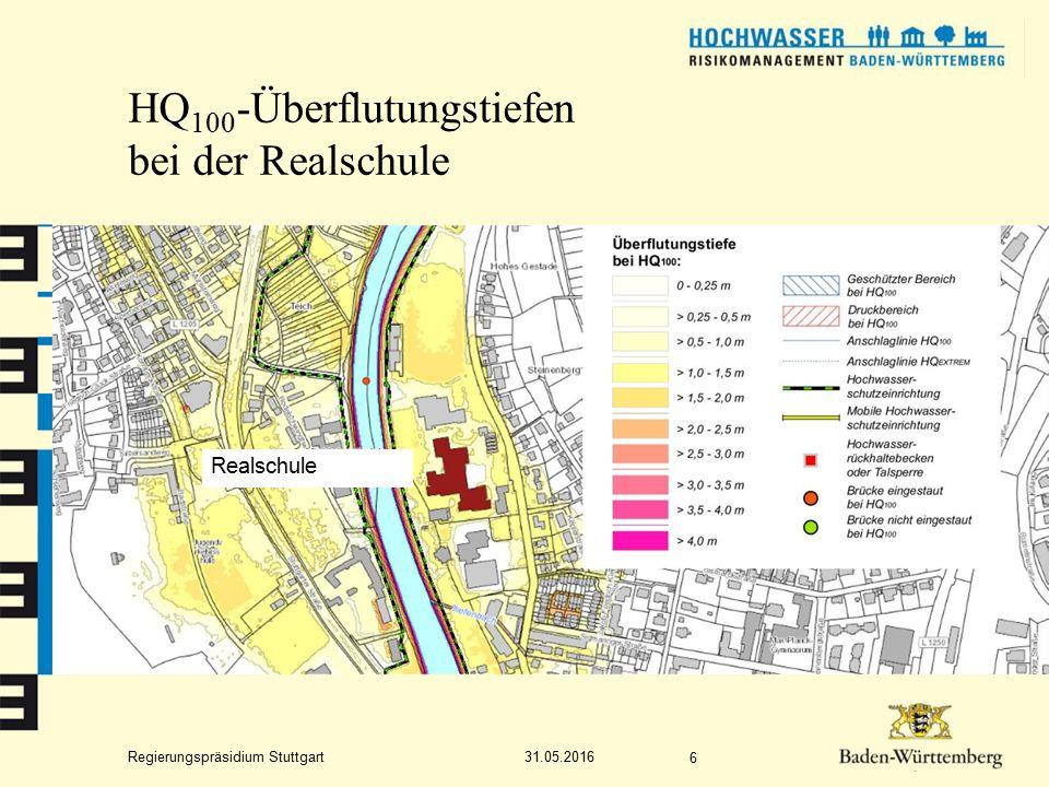Regierungspräsidium Stuttgart HQ 100 -Überflutungstiefen bei der Realschule 31.05.2016 6 Realschule