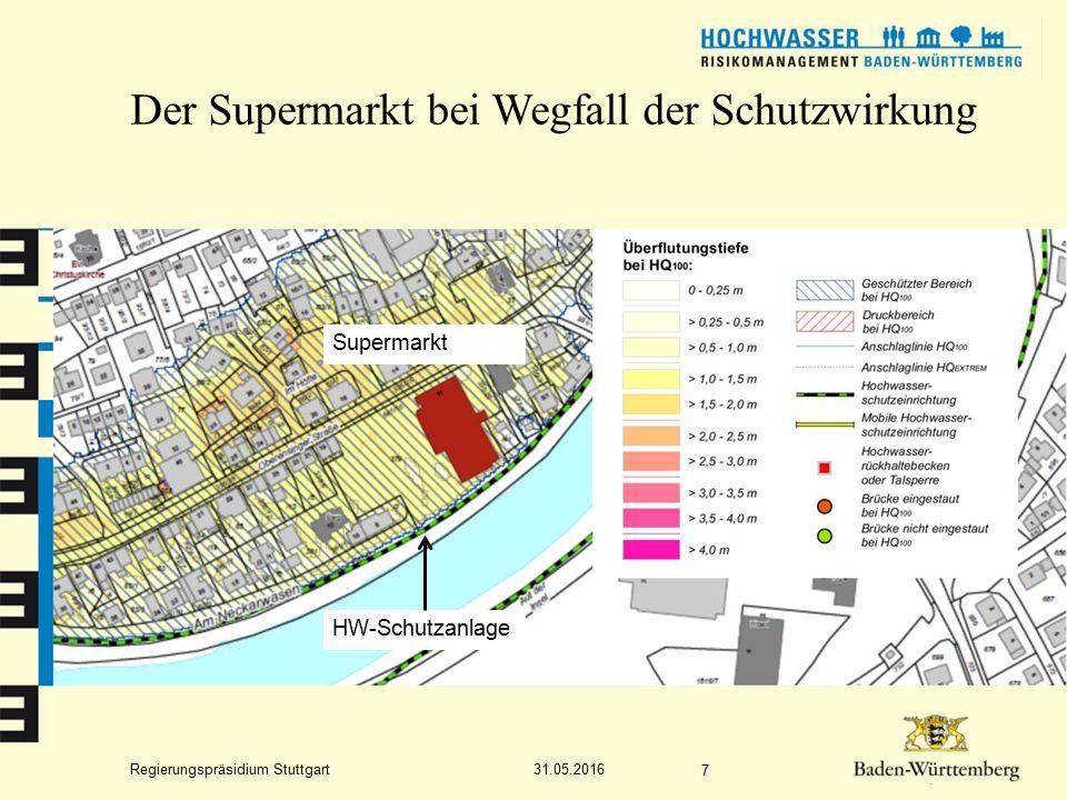 Regierungspräsidium Stuttgart Der Supermarkt bei Wegfall der Schutzwirkung 31.05.2016 7 Supermarkt HW-Schutzanlage
