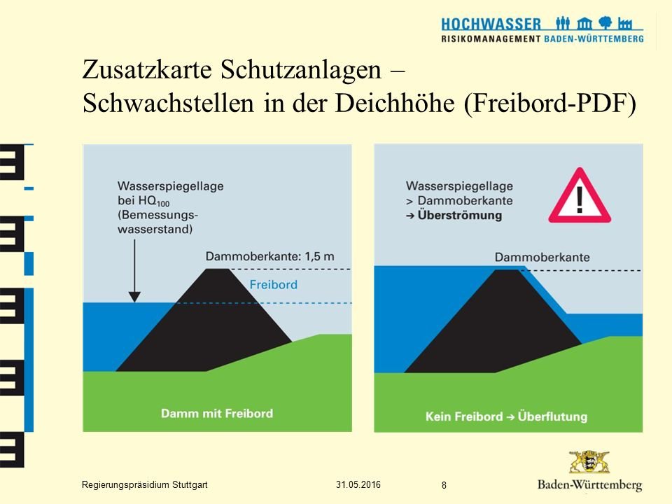 Regierungspräsidium Stuttgart Zusatzkarte Schutzanlagen – Schwachstellen in der Deichhöhe (Freibord-PDF) 31.05.2016 8