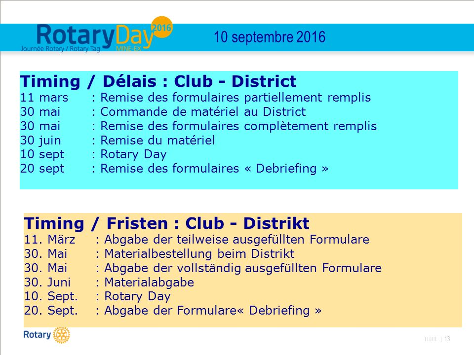 TITLE | 13 10 septembre 2016 Timing / Délais : Club - District 11 mars : Remise des formulaires partiellement remplis 30 mai: Commande de matériel au