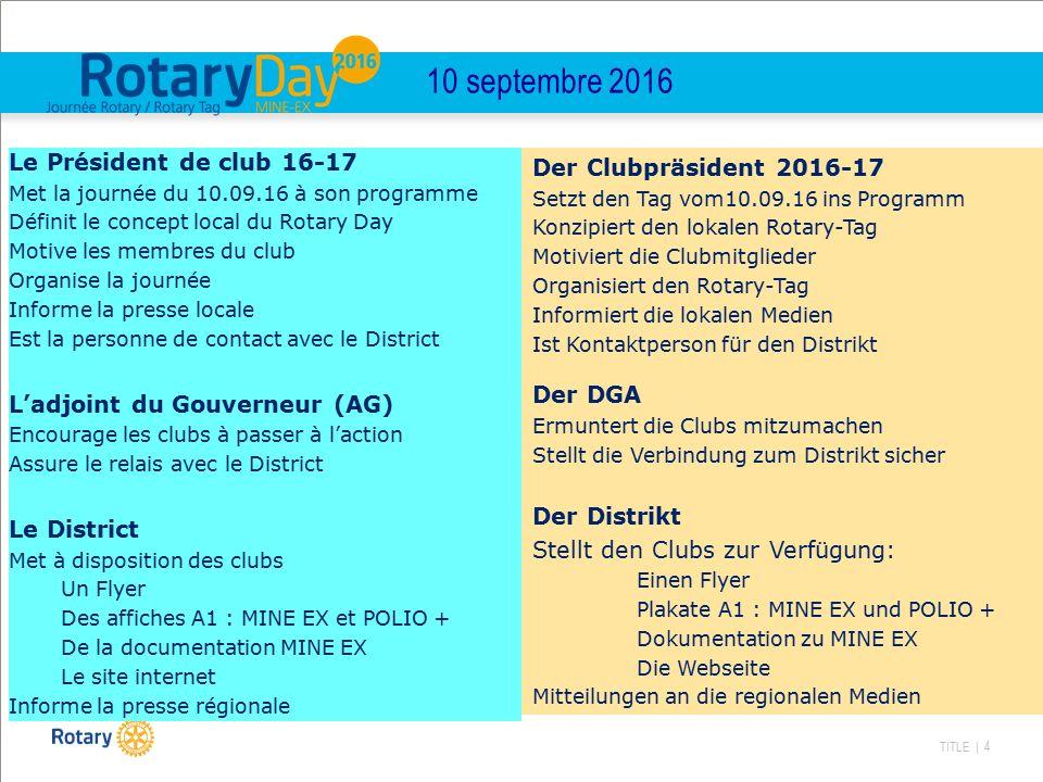 TITLE | 4 10 septembre 2016 Le Président de club 16-17 Met la journée du 10.09.16 à son programme Définit le concept local du Rotary Day Motive les me