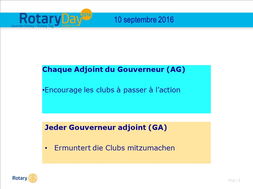 TITLE | 8 Chaque Adjoint du Gouverneur (AG) Encourage les clubs à passer à l'action Jeder Gouverneur adjoint (GA) Ermuntert die Clubs mitzumachen 10 s