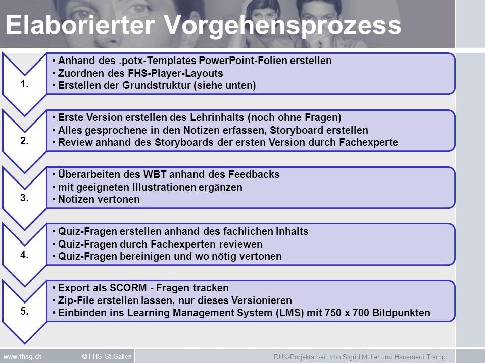 DUK-Projektarbeit von Sigrid Müller und Hansruedi Tremp www.fhsg.ch © FHS St.Gallen Elaborierter Vorgehensprozess 1. Anhand des.potx-Templates PowerPo