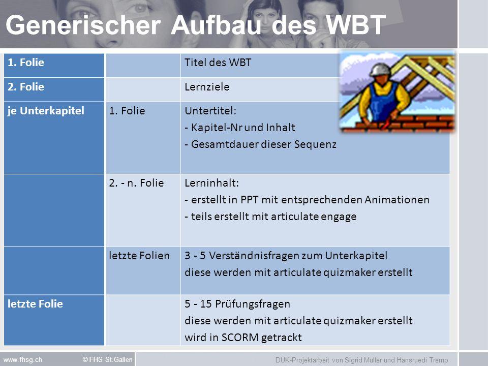 DUK-Projektarbeit von Sigrid Müller und Hansruedi Tremp www.fhsg.ch © FHS St.Gallen Generischer Aufbau des WBT 1. FolieTitel des WBT 2. FolieLernziele