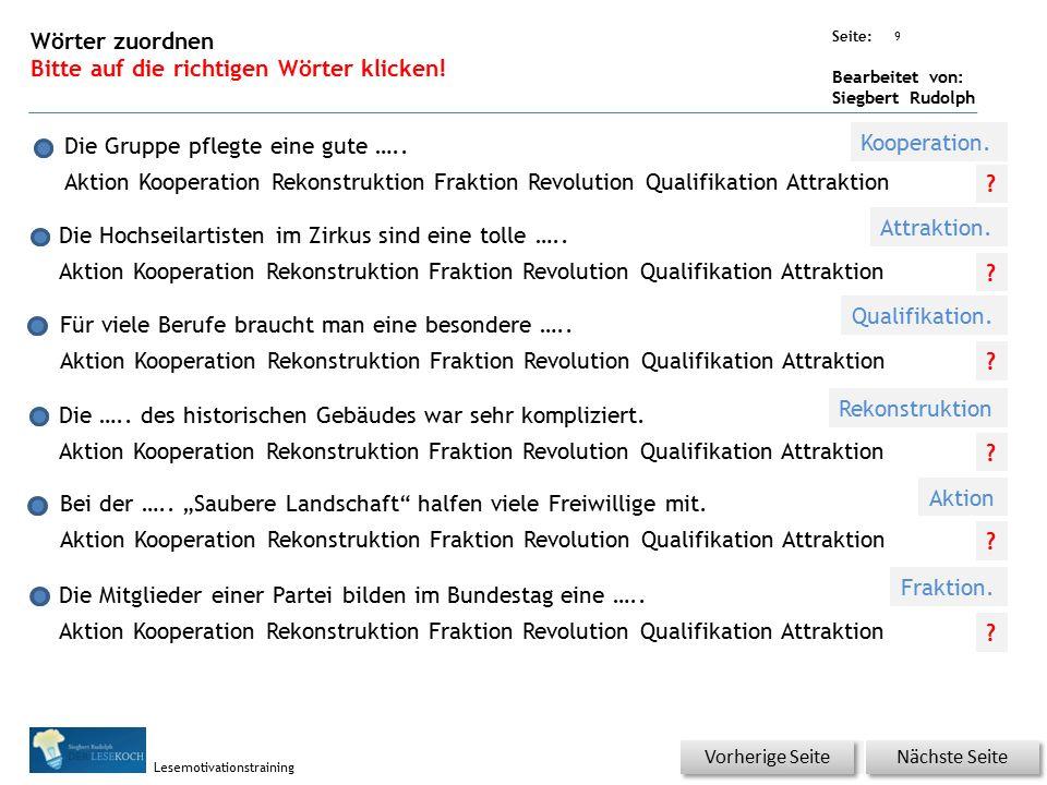 Übungsart: Seite: Bearbeitet von: Siegbert Rudolph Lesemotivationstraining Die Mitglieder einer Partei bilden im Bundestag eine …..