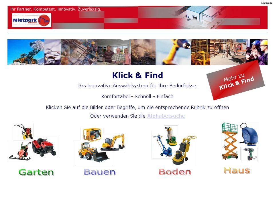 Klick & Find Das innovative Auswahlsystem für Ihre Bedürfnisse.
