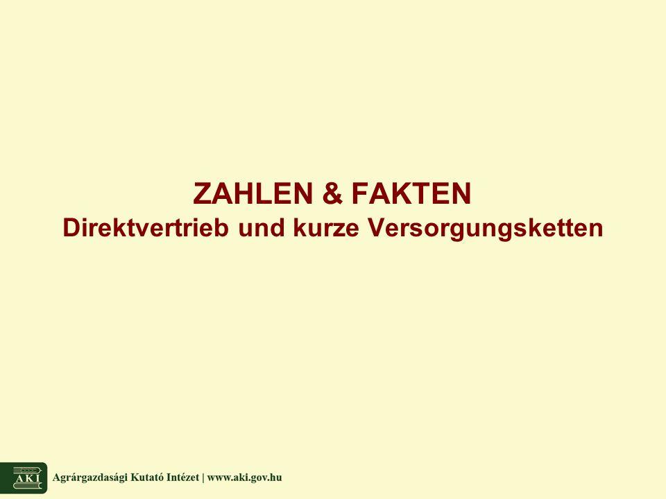 ZAHLEN & FAKTEN Direktvertrieb und kurze Versorgungsketten