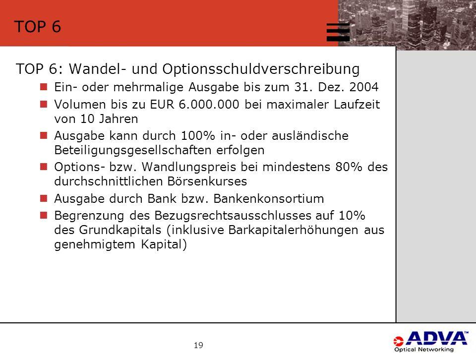 19 TOP 6 TOP 6: Wandel- und Optionsschuldverschreibung Ein- oder mehrmalige Ausgabe bis zum 31.