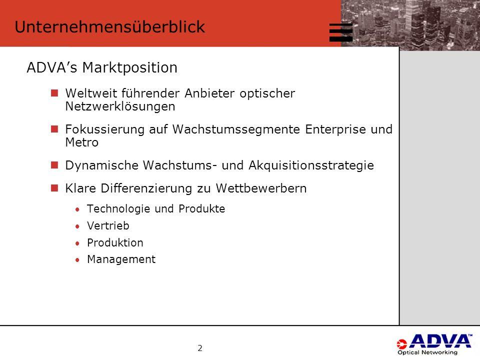 2 Unternehmensüberblick ADVA's Marktposition Weltweit führender Anbieter optischer Netzwerklösungen Fokussierung auf Wachstumssegmente Enterprise und Metro Dynamische Wachstums- und Akquisitionsstrategie Klare Differenzierung zu Wettbewerbern Technologie und Produkte Vertrieb Produktion Management