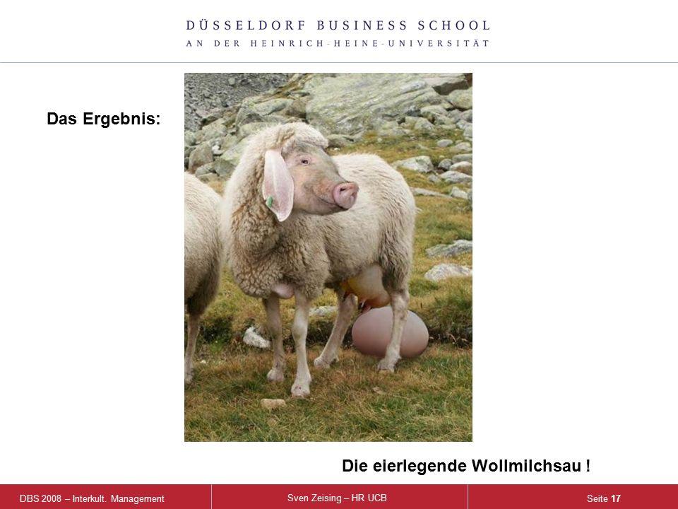 DBS 2008 – Interkult. Management Sven Zeising – HR UCB Seite 17 Das Ergebnis: Die eierlegende Wollmilchsau !