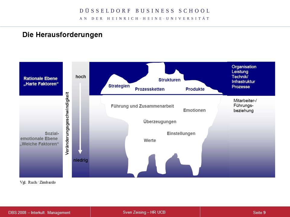 DBS 2008 – Interkult. Management Sven Zeising – HR UCB Seite 9 Die Herausforderungen Vgl. Ruch / Zimbardo