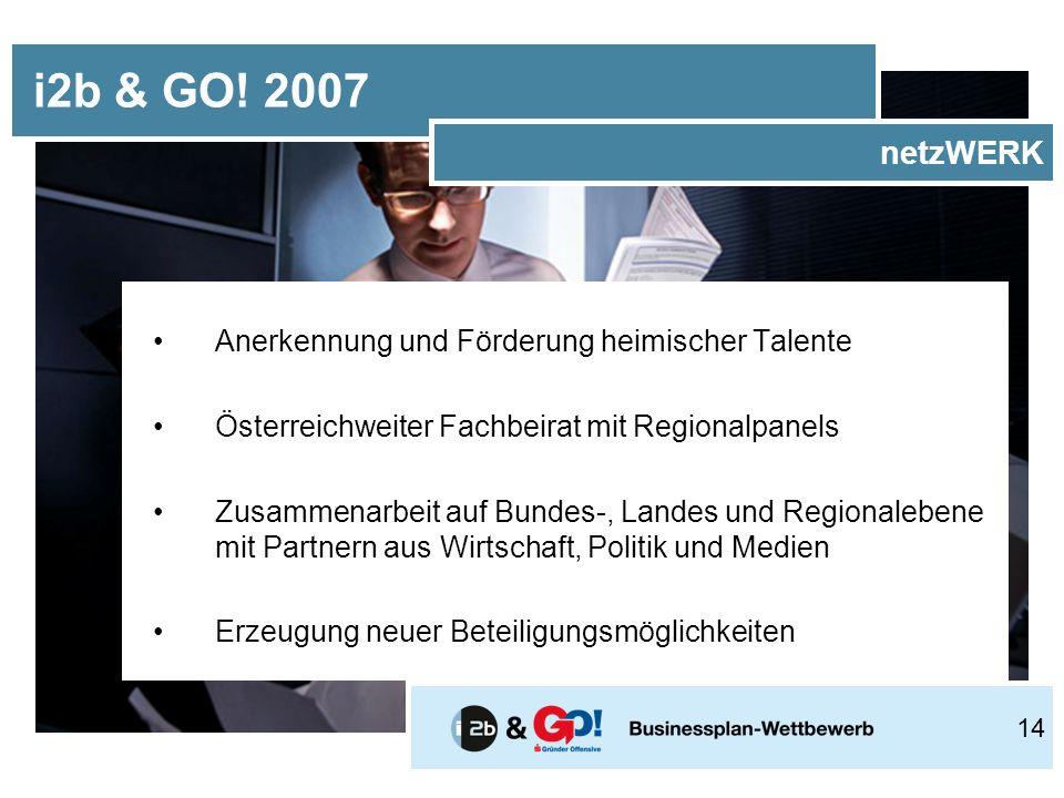 Anerkennung und Förderung heimischer Talente Österreichweiter Fachbeirat mit Regionalpanels Zusammenarbeit auf Bundes-, Landes und Regionalebene mit Partnern aus Wirtschaft, Politik und Medien Erzeugung neuer Beteiligungsmöglichkeiten i2b & GO.