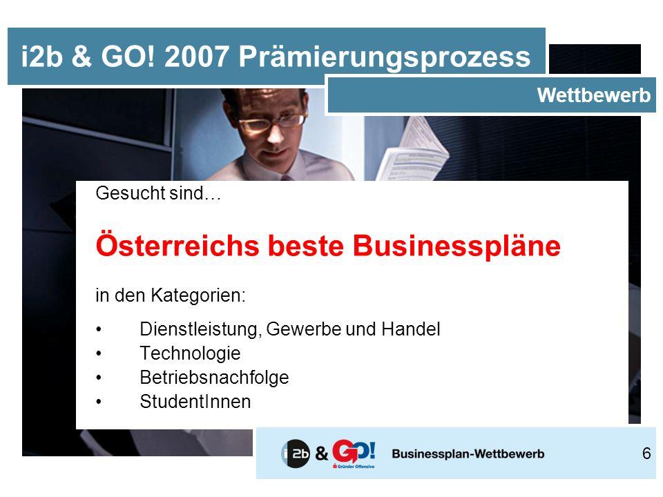 Gesucht sind… Österreichs beste Businesspläne in den Kategorien: Dienstleistung, Gewerbe und Handel Technologie Betriebsnachfolge StudentInnen i2b & GO.