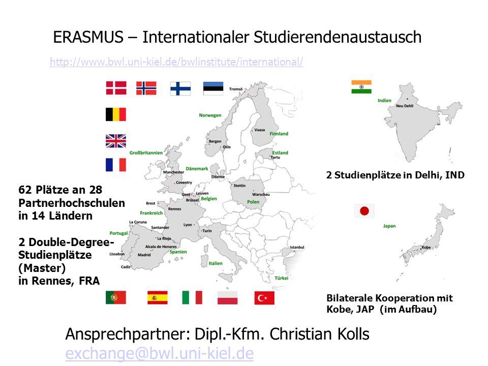 ERASMUS – Internationaler Studierendenaustausch 62 Plätze an 28 Partnerhochschulen in 14 Ländern 2 Double-Degree- Studienplätze (Master) in Rennes, FR