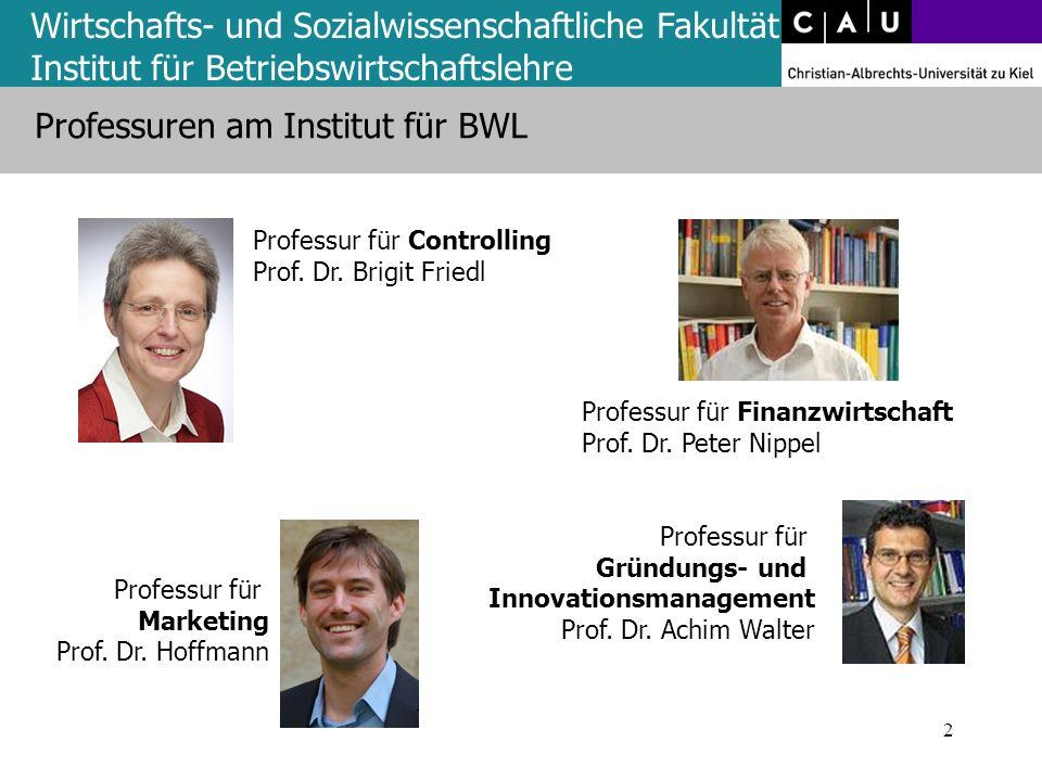 Wirtschafts- und Sozialwissenschaftliche Fakultät Institut für Betriebswirtschaftslehre Professuren am Institut für BWL 2 Professur für Controlling Pr