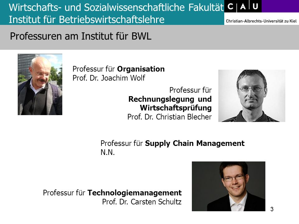 Wirtschafts- und Sozialwissenschaftliche Fakultät Institut für Betriebswirtschaftslehre Professuren am Institut für BWL 3 Professur für Organisation P