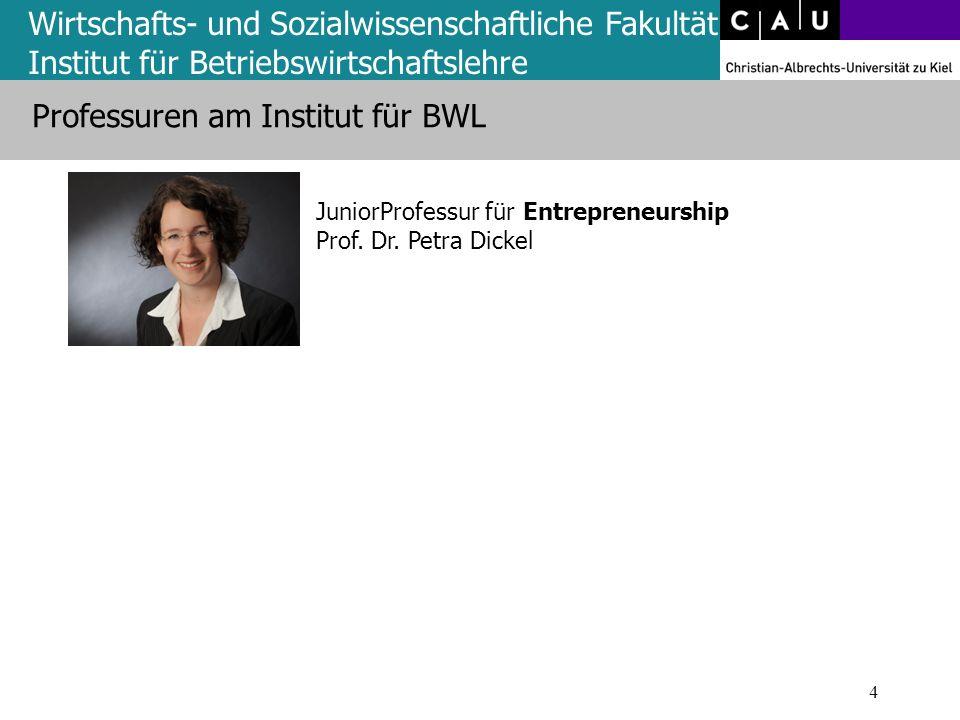 Wirtschafts- und Sozialwissenschaftliche Fakultät Institut für Betriebswirtschaftslehre 4 JuniorProfessur für Entrepreneurship Prof. Dr. Petra Dickel