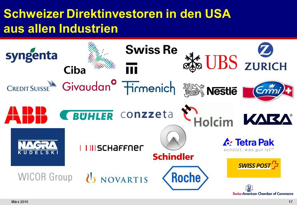 März 201617 Schweizer Direktinvestoren in den USA aus allen Industrien