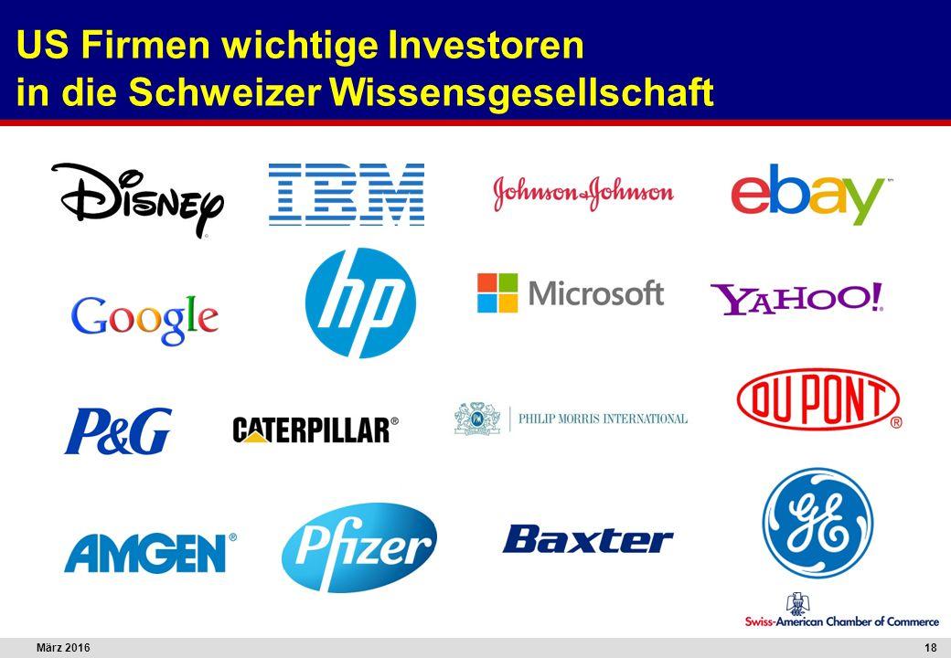 März 201618 US Firmen wichtige Investoren in die Schweizer Wissensgesellschaft
