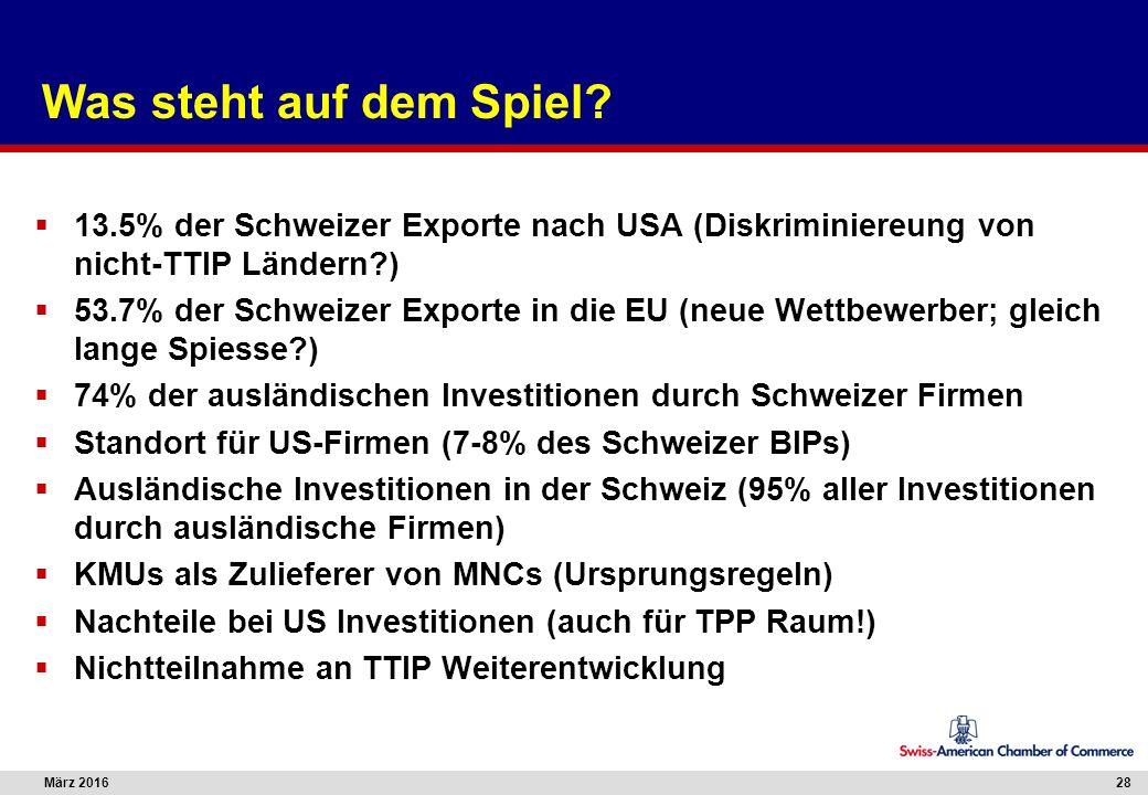 März 201628 Was steht auf dem Spiel?  13.5% der Schweizer Exporte nach USA (Diskriminiereung von nicht-TTIP Ländern?)  53.7% der Schweizer Exporte i