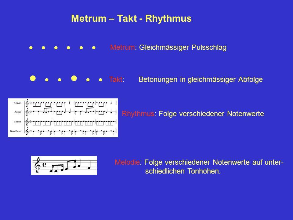 Metrum – Takt - Rhythmus ● ● ● ● ● ● Metrum: Gleichmässiger Pulsschlag ● ● ● ● ● ● Takt: Betonungen in gleichmässiger Abfolge Rhythmus: Folge verschie