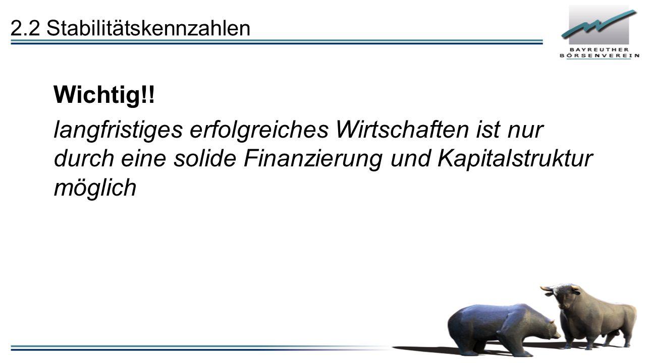 2.2 Stabilitätskennzahlen Wichtig!.