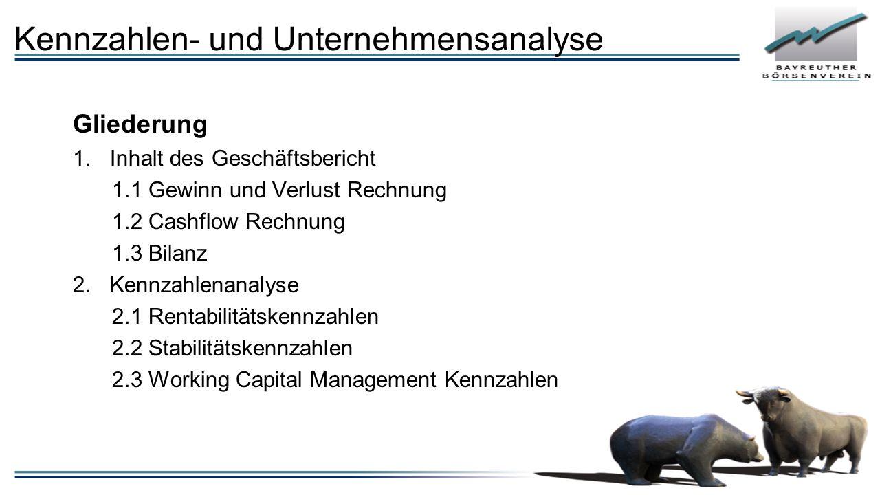 Gliederung 1.Inhalt des Geschäftsbericht 1.1 Gewinn und Verlust Rechnung 1.2 Cashflow Rechnung 1.3 Bilanz 2.Kennzahlenanalyse 2.1 Rentabilitätskennzahlen 2.2 Stabilitätskennzahlen 2.3 Working Capital Management Kennzahlen